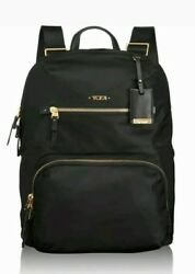 New $295 Tumi Voyageur Halle Black Nylon with Leather Trim Women's Backpack