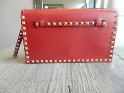 $1795 New Valentino leather Rockstud Gold Stud Flap Wristlet Clutch Bag Red