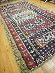 Masterpiece C1900-1939s Antique Natural Dye Avshar Tribal Kilim 6and0399andtimes12and0399
