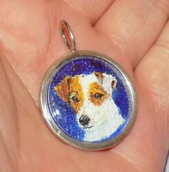 Vintage Sterling Silver Miniature Watercolour Jack Russell Terrier Dog Pendant