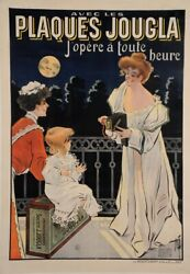 Original Vintage French Poster For Plaques Jougla Cameras By Misti 1902