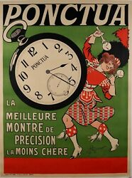 Original Vintage French Posters For Ponctua Watch 1910's