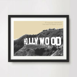 Hollywood Sign Pop Art Print Poster Neutral Sepia Home Decor Wall Picture 10size