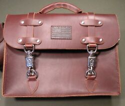 Custom Leather Messenger Bag. Laptop Briefcase Hand Made Luggage w Rifle Sling