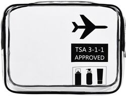 Clear Travel Toiletry Bag TSA Approved Quart Sized Carry-On Makeup Accessories