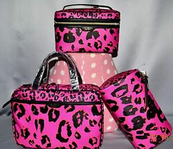 Victorias Secret Supermodel LEOPARD Train Case Cosmetic Makeup Bag Set X3 NWT