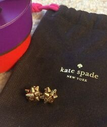 14 Kt Gold ✦ Kate Spade Ny ✦ Bourgeois Bow Earrings Gift Box Birthday Authentic
