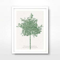 TREE GREEN ART PRINT Poster Home Decor Wall Trees Picture Artwork A4 A3 A2 Size