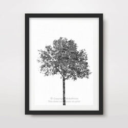 BLACK WHITE TREE ART PRINT Poster Home Decor Wall Trees Picture Artwork A4 A3 A2