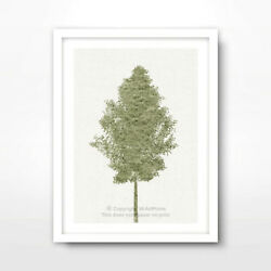 TREE GREEN ART PRINT Poster Home Decor Wall Trees Picture Artwork Nature Shape
