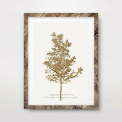 TREE YELLOW ART PRINT Poster Room multisize Wall Trees Picture Artwork Colour
