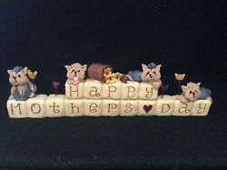 YORSHIRE TERRIER YORKIE DOGS HAPPY MOTHERS DAY OOAK CLAY SCULPTURE