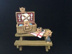 YORSHIRE TERRIER YORKIE DOGS SPRING PICNIC OOAK CLAY SCULPTURE