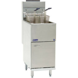 Natural Gas Pitco 35c+s 35-40 Lb. Stainless Steel Floor Fryer - 3 Tubes