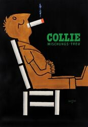 Original French Poster Advertising Cigarettes Collie By Savignac 1952