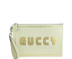 Authentic Women Gucci Pouch White leather Clutch
