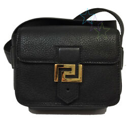 VERSACE GREEK KEY LEATHER CROSS-BODY BAG LEATHER BLACK FOR MAN