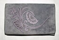 GUCCI Hand Embroidered Charcoal Grey Suede Ladies Handbag 6.5 x 10.5 inches