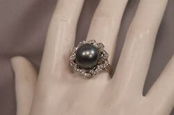 Big Beautiful Lustrous South Seas Pearl 14mm 18k Gold And 40 Diamonds Signed Ring