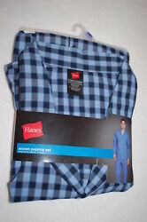 Mens Pajama Set Lt Weight Woven Blue And Navy Checker Plaid Pants And L/s Top Size S
