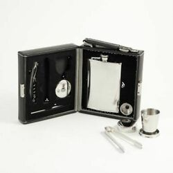 7 Pc. Stainless Steel Travel Bar Set In Black Leather Case