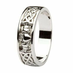 Gents Claddagh Celtic Wedding Ring Made in Ireland 14k White Gold 14IC11