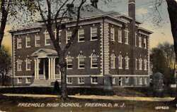 Freehold New Jersey High School Street View Antique Postcard K92783