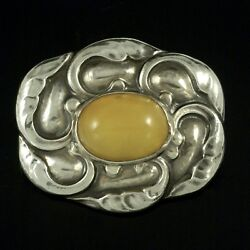Georg Jensen. Art Nouveau Sterling Silver Brooch With Amber 61. 1933-44.