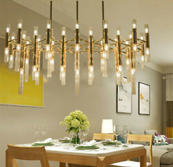 54/64 Heads Gold Metal Luxury Led Glass Pendant Lamp Ceiling Lighting Fixtures