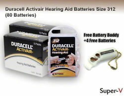 Duracell Size 312 P312 Hearing Aid Batteries 80 Cells + Keychain/4 Batteries