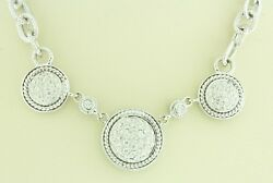 14k White Gold Clasp And Chain .65 Tdw Si Diamond Pave Pendant Necklace Handmade