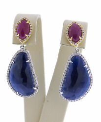 14k Yellow Gold Womenand039s Natural Blue And Red Sapphire White Diamonds Drop Earrings