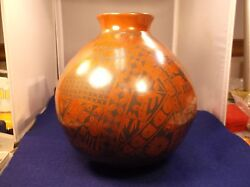 2 Of 2, Excellent Mexican Pottery Bulb-vase-olla-pot Orange/red And Black Designs