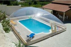 Inflatable Tpu Hot Tub Swimming Pool Solar Dome Cover Tent W/ Blower And Pump