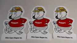 3 Vtg Scoopy Stickers Atlas Copco Wagner Inc Coal Mining Equipment Co Hard Hat