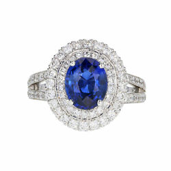 Signature Oval Sapphire with Double Halo Diamond Ring in 14K White Gold