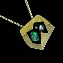 Ole Waldemar Jacobsen. Gilded Silver Pendant With Opal Moonstone And Diamond