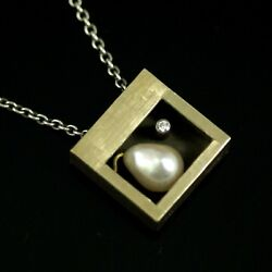 Ole Waldemar Jacobsen. Gilded Sterling Silver Pendant With Pearl And Diamond.