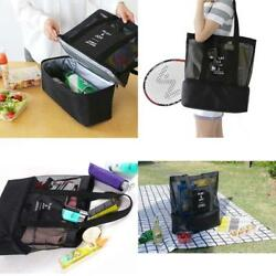 Handheld Lunch Bag Insulated Cooler Picnic Bag Mesh Beach Tote Storage -