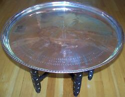 27 Handmade Antique Copper Tray And Mother Of Pearl Wood Leg Coffee Table