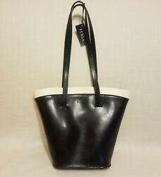 Furla Black Leather Bucket Handbag Purse Shoulder bag w Ivory Cream Trim $89.95