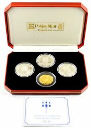 1999 Gibraltar Pobjoy Mint Crown Jewels 925 Silver And 999.9 Gold 4-coin Box Set