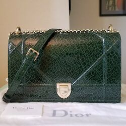 $4200 New Dior Diorama Green Large cracked Deer skin Leather Bag Tote purse