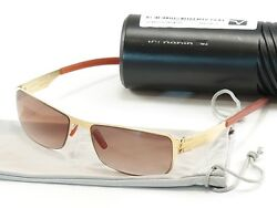 IC! Berlin Sunglasses Vreni Gold Brown Stainless Steel Germany Made 56-18-135 32