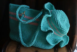 Handmade Crochet Beach Bag (Turquise) With Summer Hat NEW PRICE 20% OF