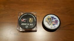 Vegas Golden Knights Vs. Columbus Blue Jackets Game Used Warm Up Hockey Puck
