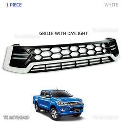 White Drl Daylight Front Grille Grill Fit Toyota Hilux Revo Sr5 M70 M80 2016 17