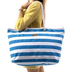 Large Canvas Beach Bag - Striped Tote Bag With Waterproof Lining - Top Zipper...