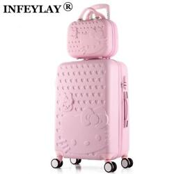 HOT 2PCSSET 14inch Cosmetic bag hello Kitty 22 28 inch girl trolley case ABS+PC
