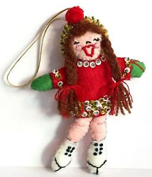 Vintage Ice Skating Girl Christmas Ornament Felt Beads Sequins Bucilla Paragon ?